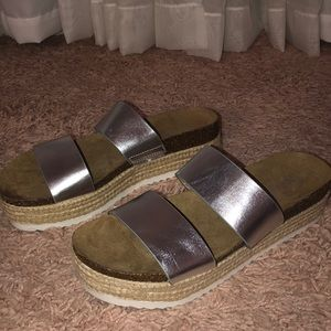Silver wedge sandal